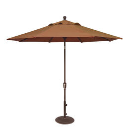Treasure Garden 9' Push Button Tilt Aluminum Shade Umbrella Bronze/Teak