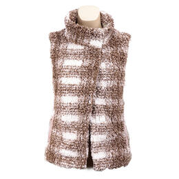 Dylan by True Grit Women's Plaid Pattern Frosty Tipped Pile Vest