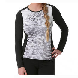Hot Chillys Women's Mtf4000 Print Scoopneck Baselayer Top, Wise Eyes/Black