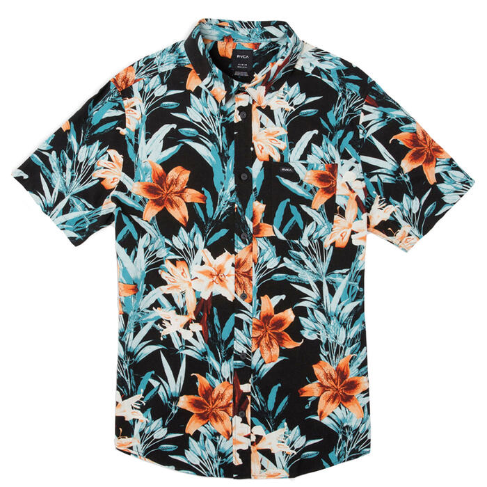 Rvca Men's Montague Floral Short Sleeve Shi