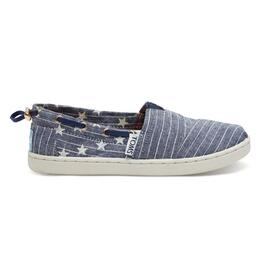 Toms Children's Chambray Stars And Stripes Youth Bimini Casual Shoes