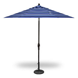 Treasure Garden 9' Auto Tilt Umbrella - Black with Milano Cobalt Stripe
