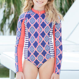Cabana Life Girl's Navy Geo Long Sleeve Unisuit