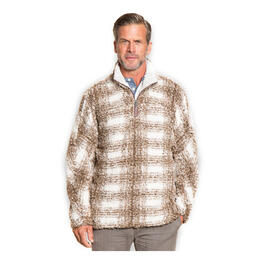 True Grit Men's Big Plaid Frosty Tipped Pile 1/4 Zip Sweater