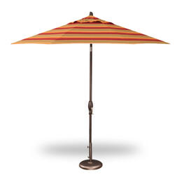 Treasure Garden 9' Auto Tilt Umbrella - Bronze with Astoria Sunset Stripe