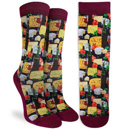 Good Luck Socks Women's Wine & Cheese Socks