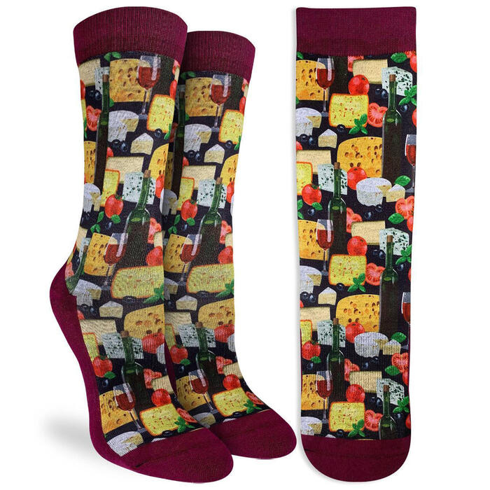 Good Luck Socks Women's Wine & Cheese S