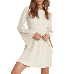 ROXY Women's Strolling Through Long Sleeve Rib Knit Dress