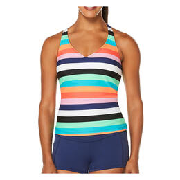 Jag Sport Women's Holiday Knits Stripe Tankini