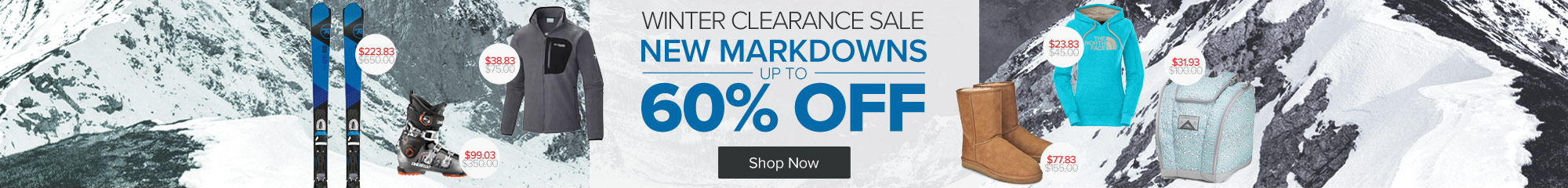 Winter Clearance. Save up to 60% on Ski and Snowboard Equipment, Snow Apparel and Accessories