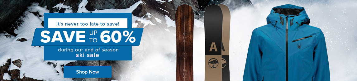 It's never too late to save! Shop uo to 60% off during our end of season ski sale.