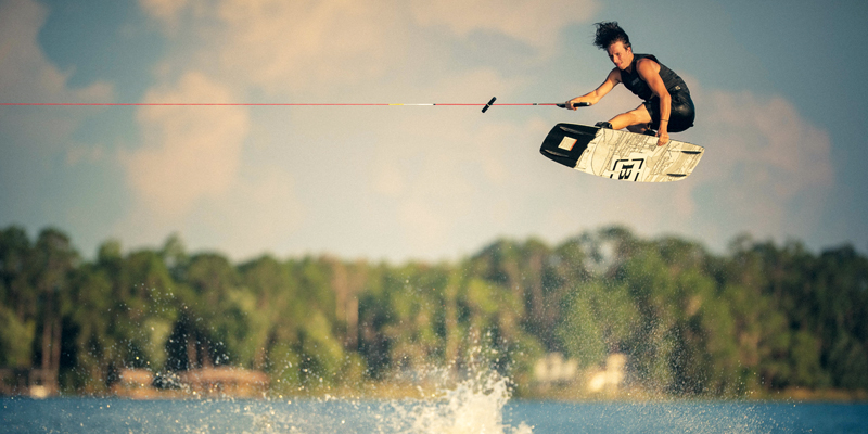 Catching air on a wakeboard