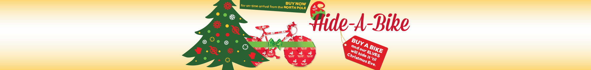 Hide a Bike - Purchase a bike now and we will hide it until Christmas Eve.