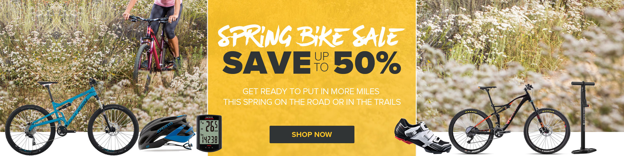 Spring Bike Sale - Save Up To 50% on Bikes and Bike Accessories