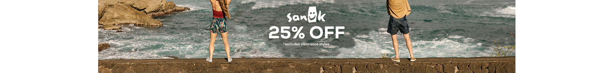 sanuk 25% off *excludes clearance