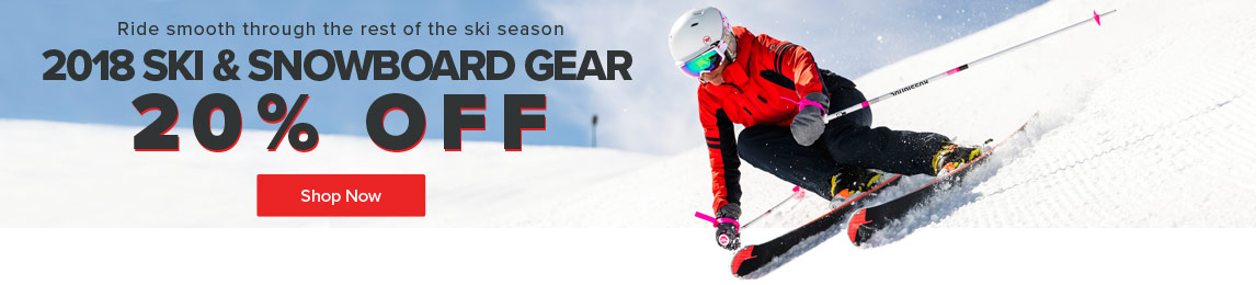 Ride smooth through the rest of the ski season- save 20% off all 2018 Ski & Snowboard Gear.