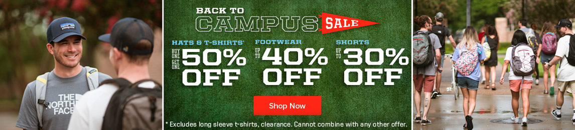Back To  Campus Sale. BOGO Hats and Tees. Footwear Up To 40% Off and Shorts Up To 30% Off