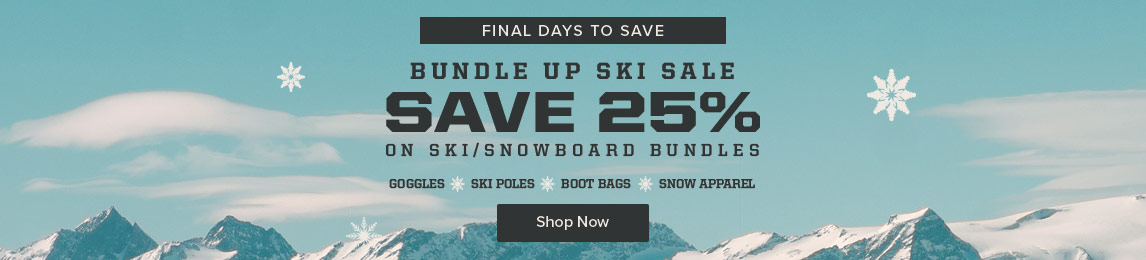 Save 25% on Ski and Snowboard equipment wheh you bundle up. Shop Now.