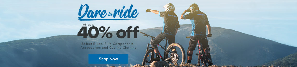 Save up to 40% Off Select Bikes, Bike Components, Accessories and Cycling Clothing.