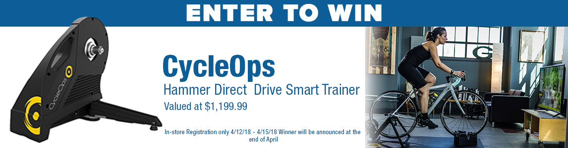 Enter to Win - CycleOps Hammer Direct Drive Smart Trainer. In-store only.