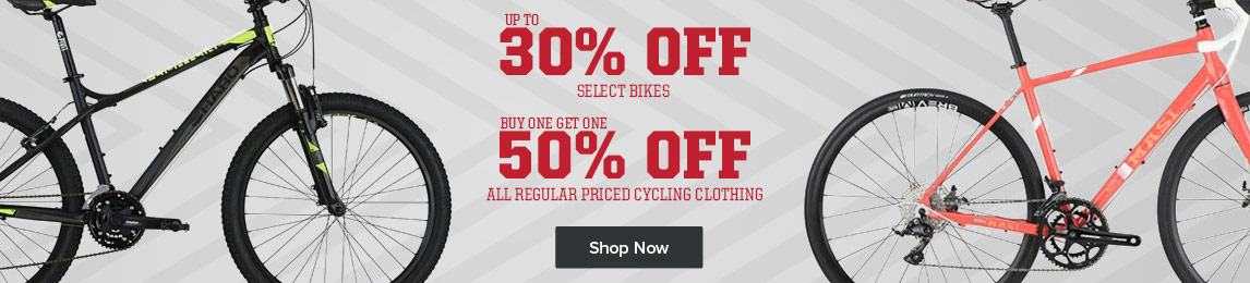 Fall Bike Sale. Up to 30% off select bikes plus Buy One, Get One 50% off all regular priced cycling clothing.