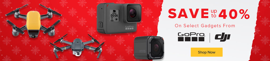 Save up to 40% on GoPro and DJI..