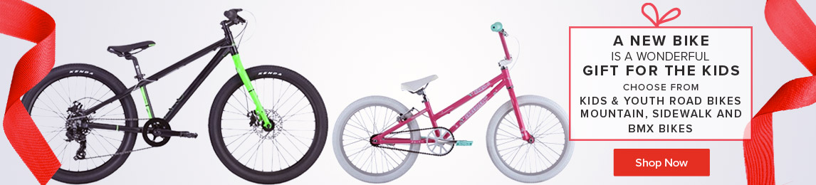 A bike is a wonderful gift for the kids. Choose from Kids and Youth Road, Mountain, Sidewalk and BMX Bikes.
