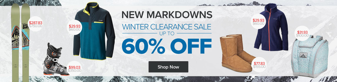 New Winter Clearance Markdowns - Save up to 60%