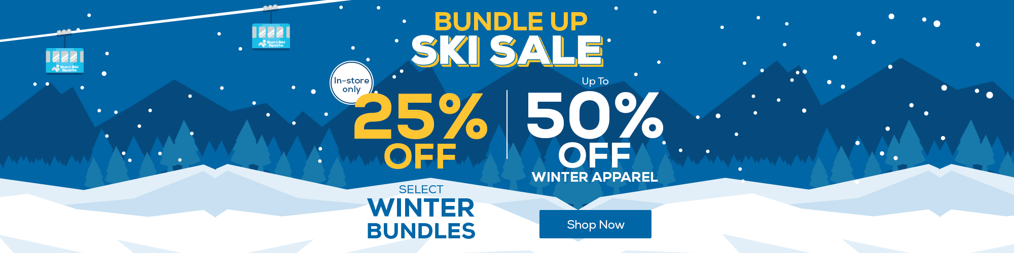 Bundle Up Ski Sale. Up to 50% off winter apparel plus 25% off select winter bundles in store. Find a local store.