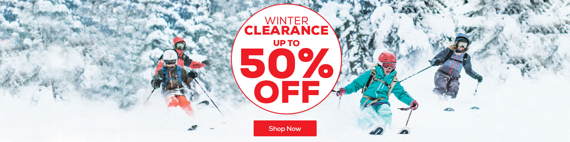 Up to 50% off winter clearance.