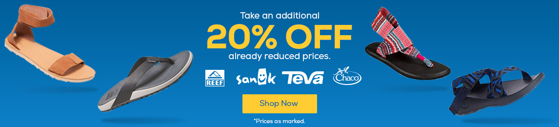 Take an additional 20% off already reduced prices. Prices as marked.