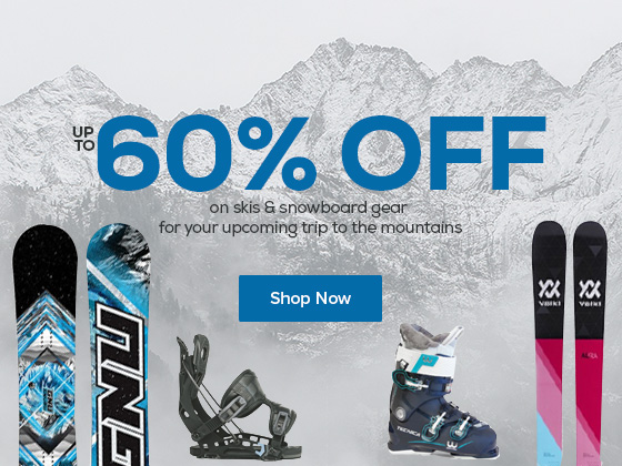 Save up to 60% on skis and snowboard gear for your upcoming trip to the mountains.