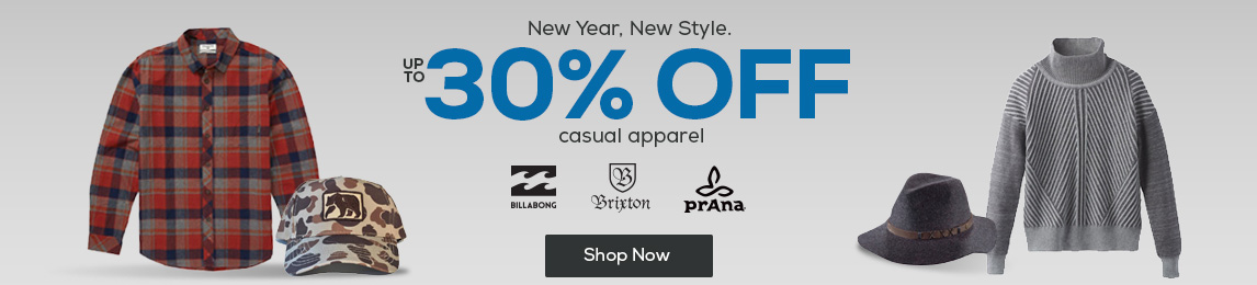 New year, new style. Shop up to 30% off casual apparel.