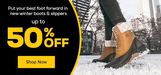 Put your best foot forward in new winter boots & slippers up to 50% Off.