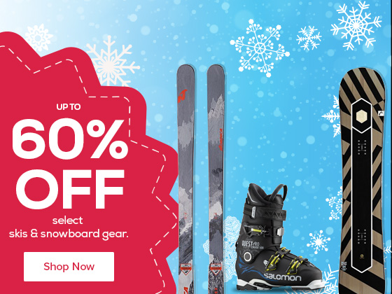 Save up to 60% Off Select Skis and Snowboard Gear