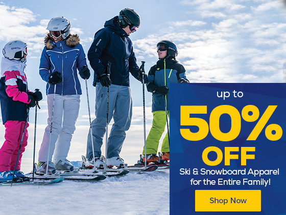 Up to 50% Off Ski & Snowboard Apparel for the Entire Family!