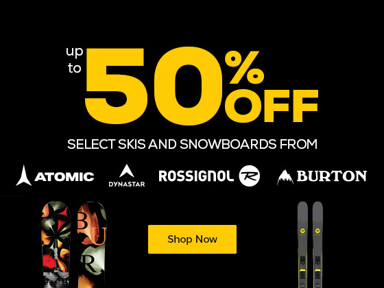 Save up to 50% Off Select Skis and Snowboards from Burton, Rossignol, Atomic and Capita