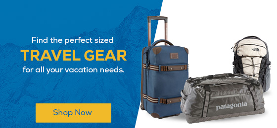 Find the perfect sized Travel Gear for all your vacation needs.