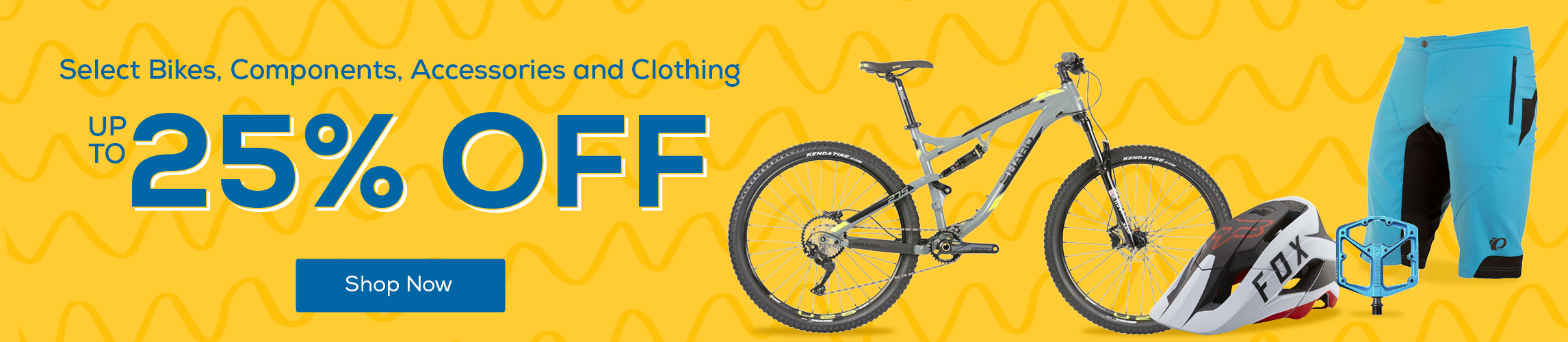 Get your bike rolling this Spring and save up to 25% off Select Bikes, Components, Accessories and Clothing.