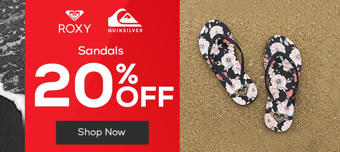 Quiksilver & Roxy Sandals 20% Off