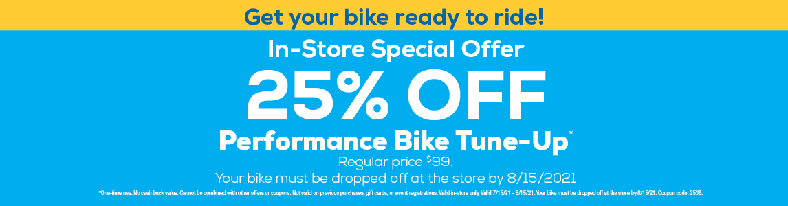 Tune-Up Special. 50% off performance bike tune-up