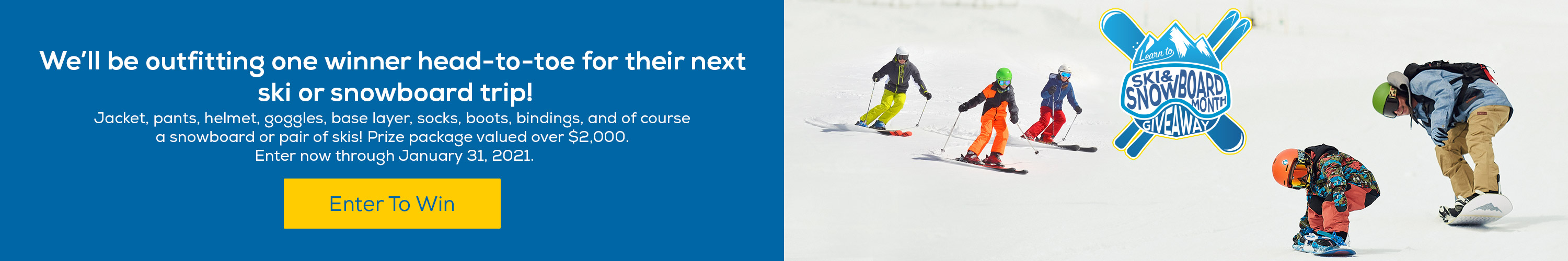 National Learn to Ski Snowboard Month - Enter to Win