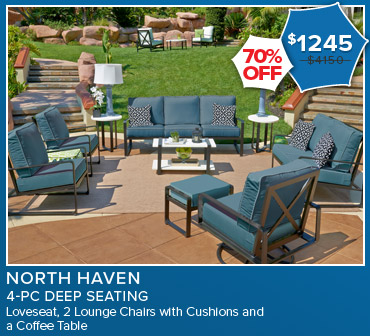 70% Off North Haven 4 Piece Deep Seating, Now $1,245