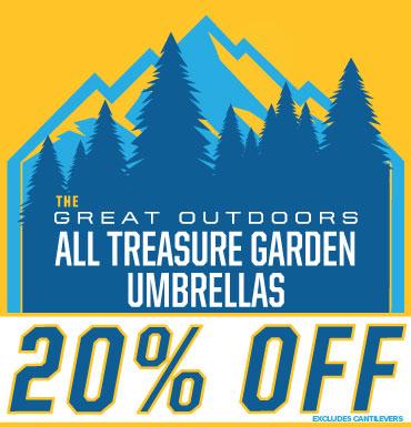 20% off all Treasure Garden Umbrellas