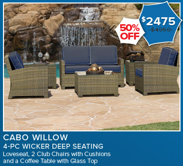 50% Off Cabo Willow 4 Piece Wicker Deep Seating. Now $2475