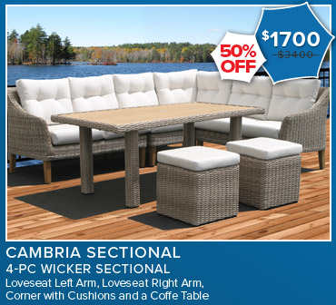 50% Off Cambria Sectional 4 Piece Wicker Sectional. Now $1,700