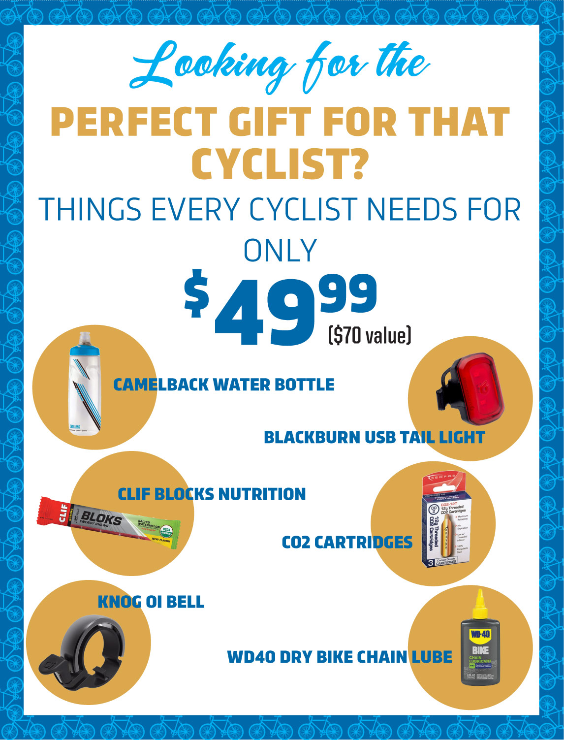 Gifts for Cyclists. Gift bags with everything they need for only $49.99