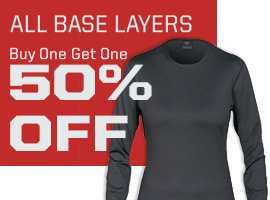 All base layers, buy one get one 50% off.