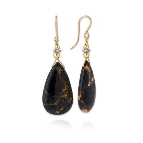 Obsidian & Copper Earrings