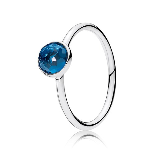 PANDORA December Droplet with London Blue Crystal Ring